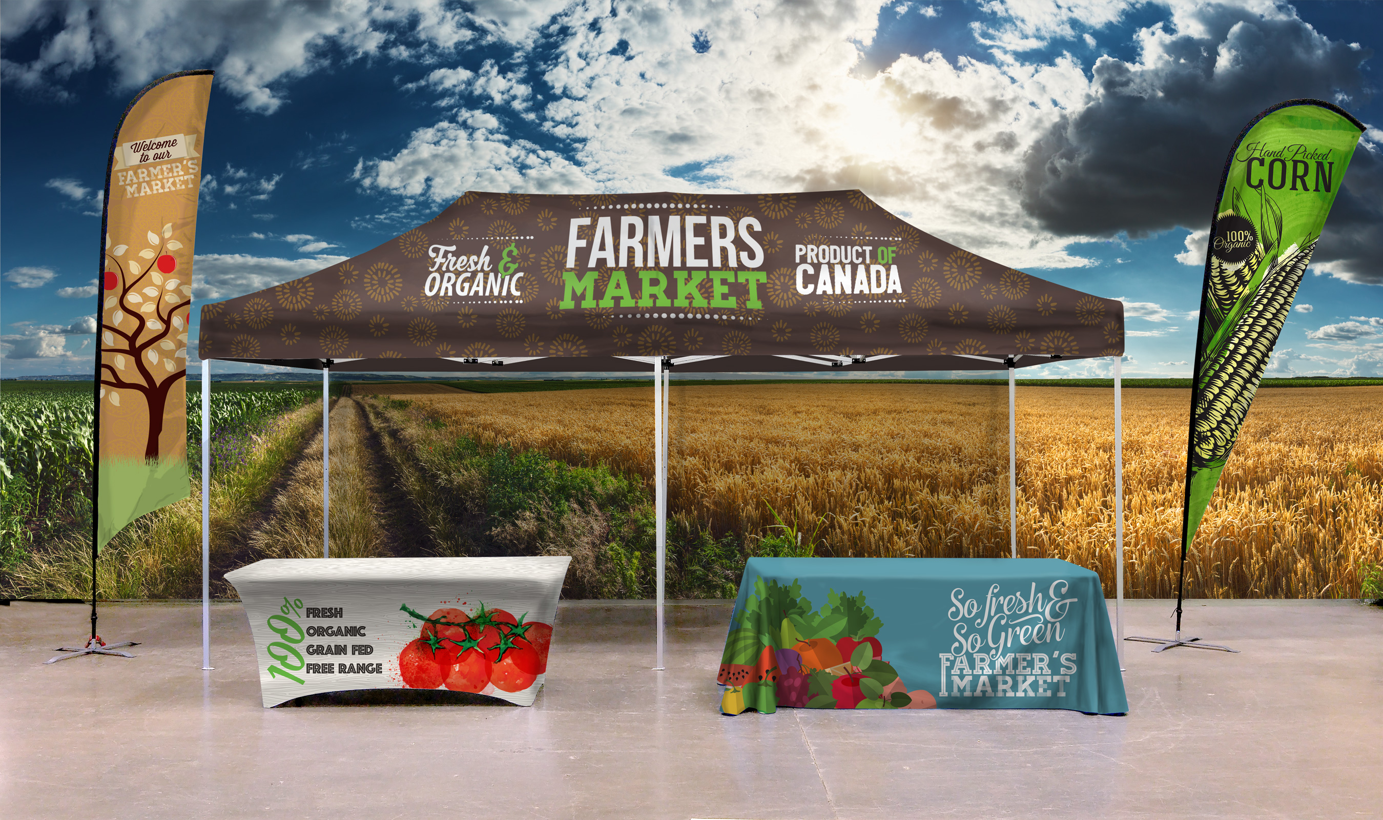 Custom Farmer Market Promotional Tent, Teardrop Flags and Feather Flags