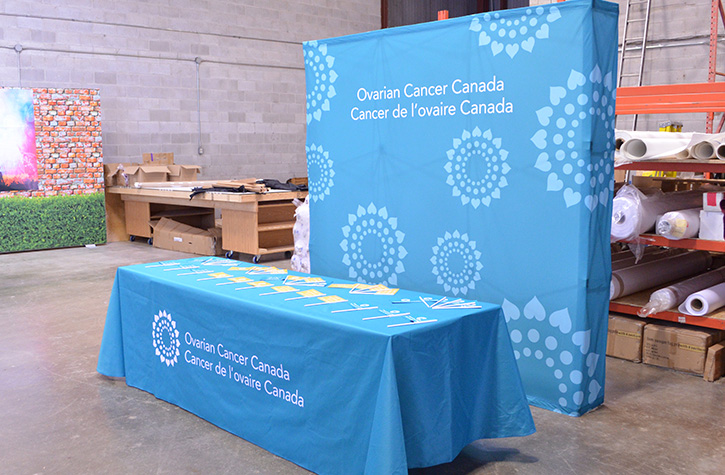 Ovarian Cancer Custom Printed Tablecloth Donated by Flagsource Canada